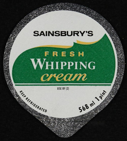 Sainsbury's Fresh Whipping cream label | SA/PKC/PRO/1/6/2/3